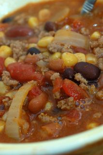Super Yummo Taco Soup. The only change I made is I only put in 1 can black beans and 1 can of kidney beans.