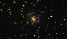 Galaxy cluster SDSS J0146-0929 contains exquisite elliptical galaxies and spectacular spirals. The mass of this galaxy cluster is large enough to severely distort the space-time around it, creating the odd, looping curves that almost encircle the center of the cluster. These graceful arcs are examples of a cosmic phenomenon known as an Einstein ring. (Credit: ESA/Hubble & NASA; Judy Schmidt)