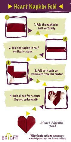 Valentine's Day Party Heart Shaped Napkin Fold | Read the post for more Valentine's Day Party Decorations