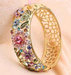 Beautiful jem-encrusted filigree bracelet