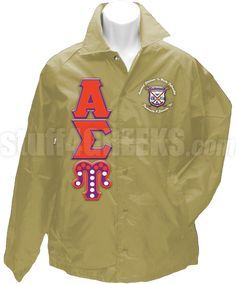 Tan Alpha Sigma Upsilon crossing jacket with the crest between the organization name on the left breast, the Greek letters down the right, and a pearl lined upsilon.