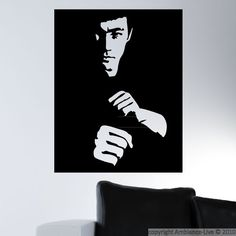 Stylish minimalist portrait of the famous Bruce Lee. #wall #decals #stickers