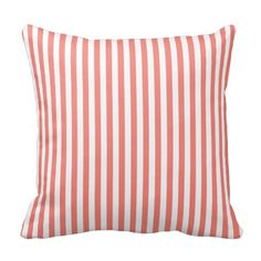 Coral Pink and White Stripes Pillows