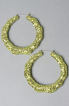 Melody Ehsani The Swarovski Bamboo Earring in Neon Yellow,Jewelry for Women: