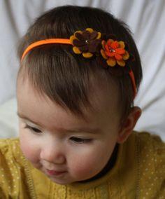 Baby Headband - Baby Hairband - Felt Flower Headband - Mustard - Brown - Orange