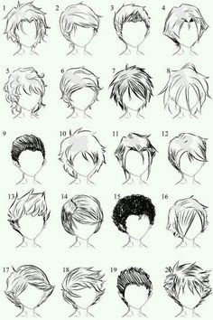 Manga Drawing Techniques helpyoudraw: 50 Male Hairstyles - Revamped by OrangeNuke 20 Male Hairstyles by Male hair and lighting by 20 More Male Hairstyles by LazyCatSleepsDaily Men's Hair - Set 9 by dark-sheikah - Drawing Techniques, Drawing Tips, Drawing Sketches, Art Drawings, Drawing Ideas, Hair Styles Drawing, Sketching, Hair Styles Anime, Short Hair Drawing