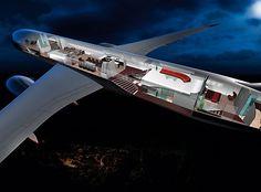 BMW Group DesignworksUSA develops a truly unique interior design concept for a Boeing 787 Dreamliner. The long-haul aircraft interior design forges a unique … Jets Privés De Luxe, Luxury Jets, Luxury Private Jets, Private Plane, Luxury Yachts, Luxury Motors, Boeing Business Jet, Private Jet Interior, Jet Privé