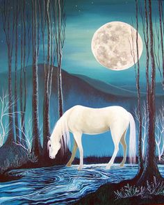 Moonlight by Sally Bartos, New Mexico artist. Her work is available from bartos on Etsy.