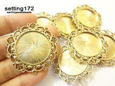 3 pcs Antique Gold Regal Round Setting Bezel 1 by EarthlyJewels, $4.25