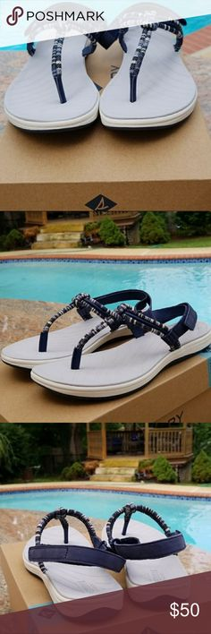 SPERRY NAVY SANDALS Navy Sandals with Velcro strap on the back. -- BRAND NEW IN BOX Sperry Shoes Sandals