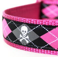 Pink Skulls and Argyle Dog Collar/ 1 inch width / by daydogdesigns, $21.50