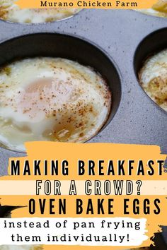Breakfast For A Crowd, How To Make Breakfast, Breakfast Recipes, Egg Recipes, Baking Recipes, Dessert Recipes, Oven Baked Eggs, Fries In The Oven, Grow Your Own Food