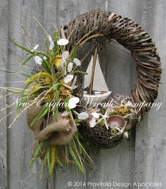 Must attempt to make this...Sailboat Wreath Beach Wreath Summer Cottage by NewEnglandWreath, $169.00