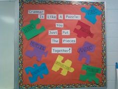 """Bulletin board idea. Adaptable for FCS majors to """"Life is lie a Puzzle: You just put the piece together!"""" Then with pieces saying """"Money Management"""" """"Relationships"""" etc."""
