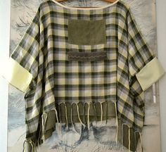 Plaid poncho cotton poncho cape tartan poncho artsy