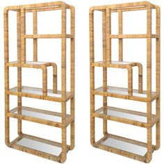 Pair Rattan Shelves