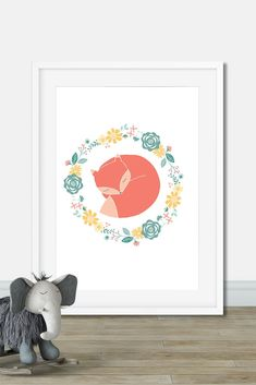 Flowers crown and cute fox illustration for kids Woodland Nursery Girl, Fox Nursery, Nursery Wall Art, Nursery Decor, Thé Illustration, Art Illustrations, Garland Nursery, Kids Decor, Decor Ideas