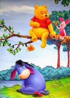 Whinnie The Pooh Drawings, Winne The Pooh, Cute Winnie The Pooh, Winnie The Pooh Quotes, Winnie The Pooh Friends, Eeyore Pictures, Winnie The Pooh Pictures, Cute Pictures, Disney Cartoon Characters