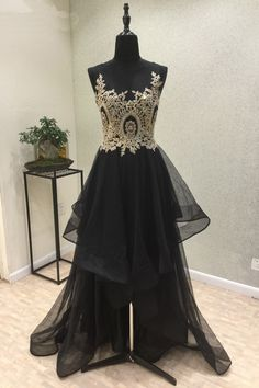 Cute lace top black organza prom dress,ball gown 2017