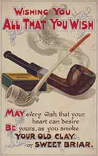 a wish card with the illustration of pipes, 1920-1930