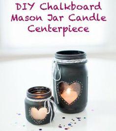 chalkboard paint heart mason jar