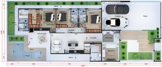 Planta de interior planta baja con 3 suites. Plano para terreno 12x30