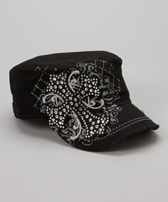 Love this Gray & Black Rhinestone Cross Newsboy Hat by Rhinestone Junkie on #zulily! #zulilyfinds