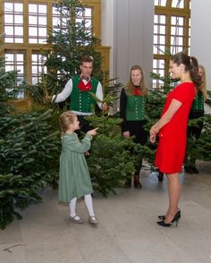 Princess Estelle of Sweden and her mother Crown Princess Victoria received the Christmas trees offered at the Drottningholm Palace by forestry students at the University of Agricultural Sciences in Stockholm on 14 December 2016