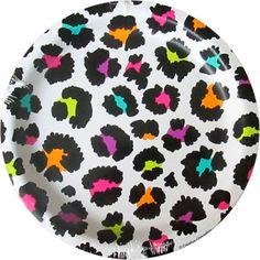 RAINBOW LEOPARD PRINT SMALL PAPER PLATE (10) ~ Birthday Party Supplies Animal #Unbranded #BirthdayChild