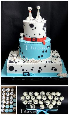 101 Dalmatians Cake, Cupcakes, and Cake Pops Pretty Cakes, Beautiful Cakes, Amazing Cakes, Take The Cake, Love Cake, Cupcakes, Cupcake Cakes, Birthday Cakes For Teens, 3rd Birthday