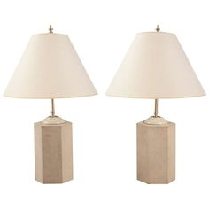 Pair of Art Deco Table Lamps. ivory color. Excellent condition. French. c1930