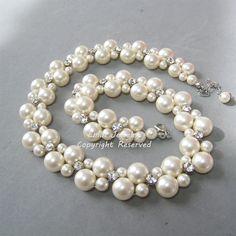 Wedding bracelet Pearl cuff bridal by nefertitijewelry2009 on Etsy