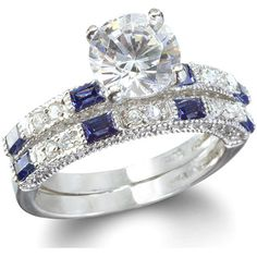 Anastasia's Sapphire Blue Wedding Ring Set