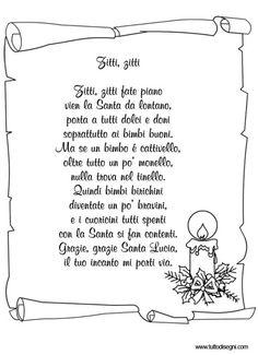 filastrocca-santa-lucia Santa Lucia, Homemade Christmas Decorations, Nostalgia, Language, Teaching, Mamma, School, Vanilla, Messages