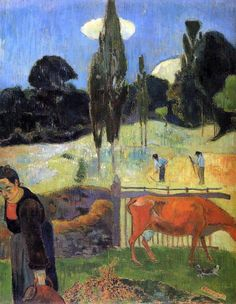 Paul Gauguin The Red Cow painting for sale, this painting is available as handmade reproduction. Shop for Paul Gauguin The Red Cow painting and frame at a discount of off. Paul Gauguin, Canvas Painting Landscape, Cow Painting, Henri Matisse, Cow Canvas, Canvas Art, Scenery Pictures, Impressionist Artists, Oil Painting Reproductions