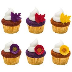 Autumn Leaf and Flower Cupcake Rings
