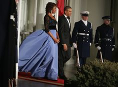 The First Lady rocked a gorgeous liberty blue and black Carolina Herrera gown.