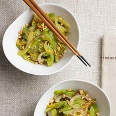 Stir-Fried Celery with Peanuts: can be easily lightened by omitting the orange juice, half the honey, and and half the oil