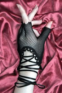 A little bit of net, a little bit of lace, these little bitty gloves make for mega-sexy hands.  Long ribbons to lace and tie up your arms are easy to switch out with a ribbon of your own for a custom look.