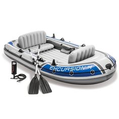 Intex Excursion Inflatable Boat Set with Aluminum Oars and High Output Air Pump (Latest Model) : Open Water Inflatable Rafts : Sports & Outdoors Best Inflatable Boat, Inflatable Fishing Kayak, Kayak Fishing, Fishing Boats, Accessoires Kayak, Kayak Accessories, Car Roof Racks, Boat Trailer, Excursion