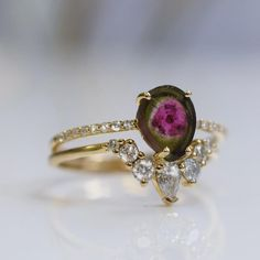 14kt Gold Watermelon Tourmaline & Diamond Frise Ring