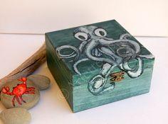 Octopus painting,Nautical home decor,Chalk Paint,Painted wood box,Storage organization,Box painted design,