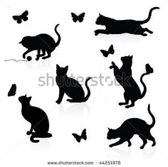 two cats playing clip art silhouette - Yahoo Image Search Results