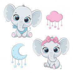 Baby Elephant Drawing, Cute Elephant Cartoon, Cute Baby Elephant, Cute Cartoon Animals, Little Elephant, Baby Cartoon, Baby Animals, Baby Elephants, Balloon Illustration