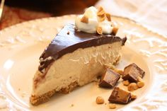 Chocolate Peanut Butter Pie. Delicious and texture is very lite and fluffy. Ganache firmed up well and tasted wonderful. Next time I may try omitting the crust and putting filling in cute cups with ganache on top and whip cream. This also freezes very well.