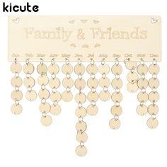 Kicute DIY Wooden Birthday Calendar Board Family Friends Birthday Calendar Sign Special Dates Planner Board Hanging Decor Gift