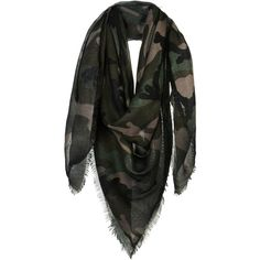 Valentino Scarf ($545) ❤ liked on Polyvore featuring accessories, scarves, dark green, cashmere scarves, cashmere shawls and valentino scarves