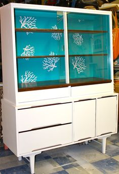 Painted furniture. Mid century modern buffet.  Retro, Baby!!!