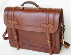 Made in Montana,USA.This handmade leather combination Briefcase/Computercase, is made from premium USA tanned Bridle Leather by one of Montanas foremost leather artists.Comparable in quality to the finest European cases. This beautiful walnut brown case measures approx 17x12x5 and has 3 inside Briefcase For Men, Leather Briefcase, Leather Bags Handmade, Leather Craft, Custom Leather, Leather Men, Leather Jackets, Pink Leather, Montana