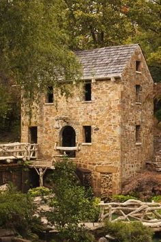 The Old Mill, Gone with the Wind, Little Rock, Arkansas, USA-Walter Bibikow-Photographic Print Old Stone Houses, Old Houses, Hobbit Houses, Modern Houses, Abandoned Houses, Abandoned Places, Stone Cottages, Stone Cottage Homes, Country Cottages